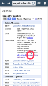 """Clicca sull'evento nell'AGENDA e poi sul link in basso """"copia nel mio calendario"""""""